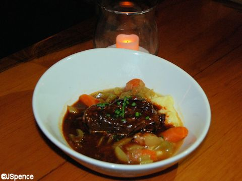 Caribbean-Braised Boneless Beef Short Ribs in a light Curry Sauce with Mashed Yucca and Yukon gold Potatoes
