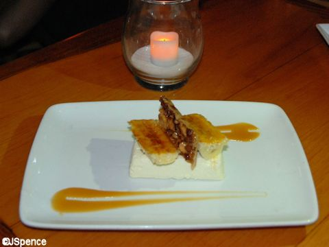 Vanilla Cheesecake with Banana Caramel Sauce and Brulee Bananas