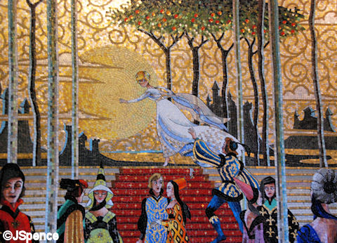 Cinderella castle mosaic murals the world according to for Disney world mural
