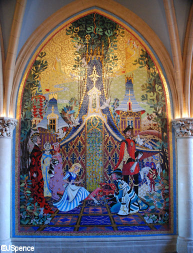 Cinderella castle mosaic murals the world according to for Disneyland mural