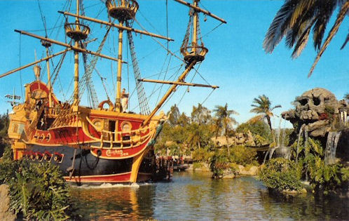 Disneyland Postcard of Jolly Roger and Skull Rock