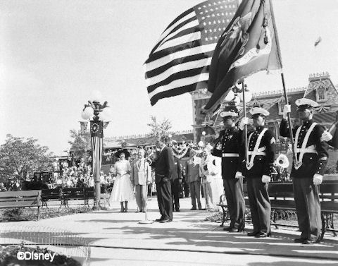 Walt Disney at Disneyland July 17, 1955