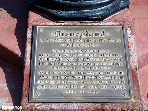 Disneyland Dedication Plaque