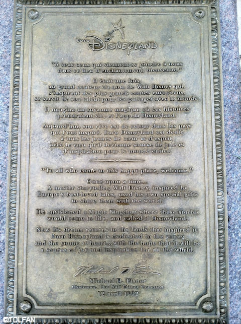 Disneyland Paris Dedication Plaque