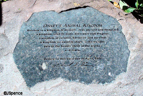Disney's Animal Kingdom Dedication Plaque