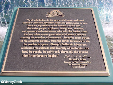Disney's California Adventure Dedication Plaque