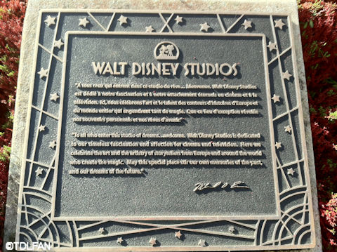 Walt Disney Studios Park Dedication Plaque