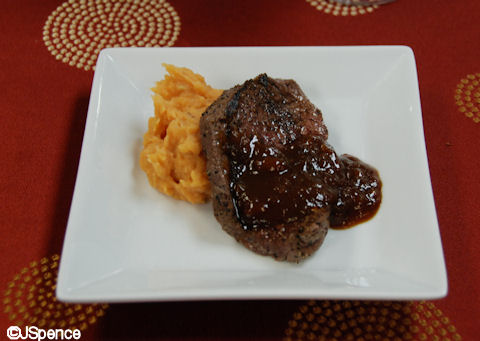 Seared Beef Tenderloin with Sweet Potato Puree