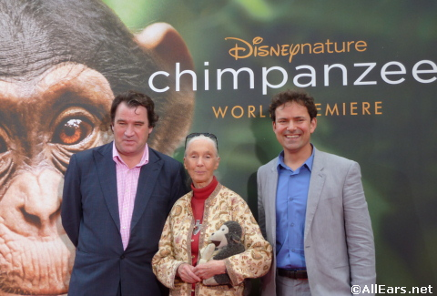Alastair Fothergill and Mark Linfield with Jane Goodall
