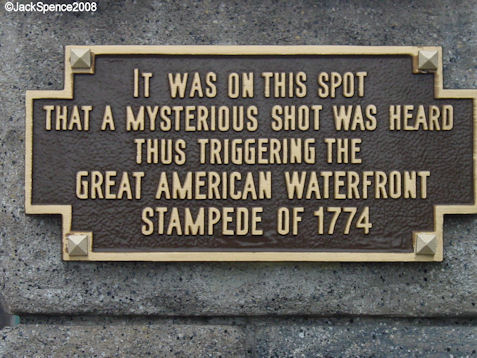 Plaque on the Bridge connecting Cape Cod and the New York Section of the American Waterfront