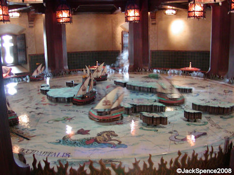 Miniature galleons in Fortress Explorations Mediterranean Harbor at Tokyo DisneySea
