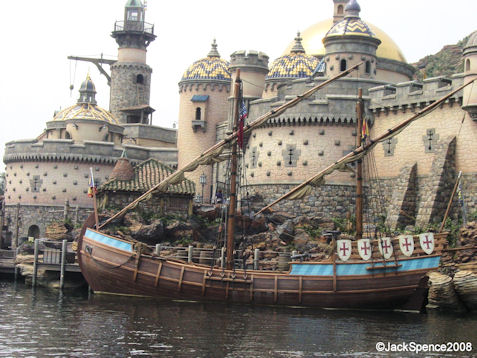 An old sailing ship in Fortress Explorations Mediterranean Harbor at Tokyo DisneySea