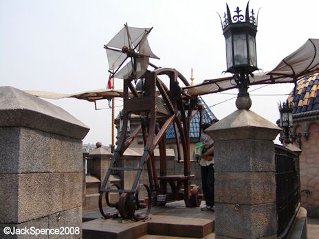 A flying machine in Fortress Explorations Mediterranean Harbor at Tokyo DisneySea
