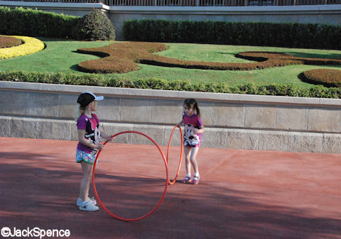 Children with hula-hoops