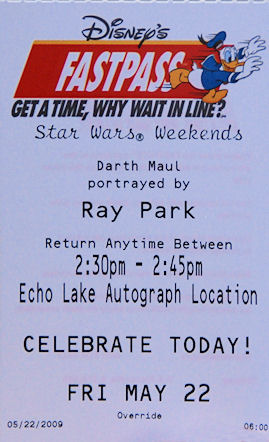 Celebrity FastPass Star Wars Weekend 2009 Disney's Hollywood Studios