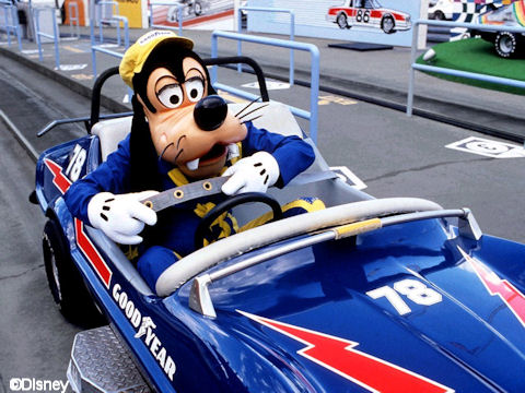 Goofy in a Goodyear Car