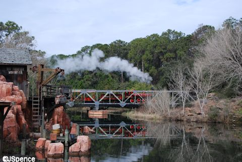 Steam Train Reflection on Rivers of America