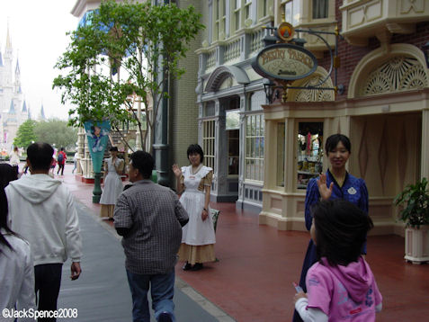 Cast Members Waving World Bazaar at Tokyo Disneyland