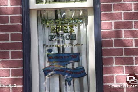 Buzz Price Window Dedication