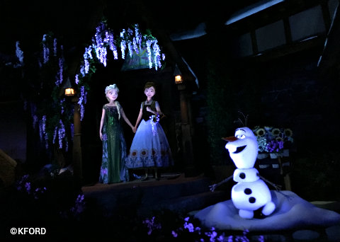 Anna and Elsa and Olaf in Frozen Ever After in Epcot