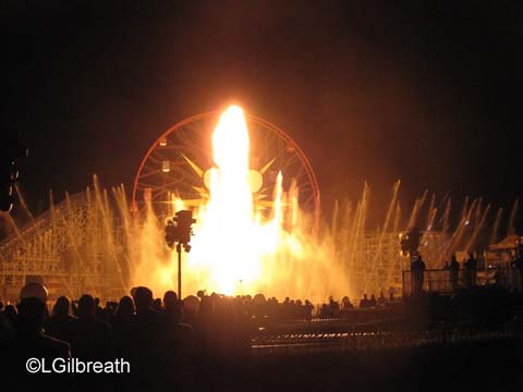 World of Color Celebrate fire pillar