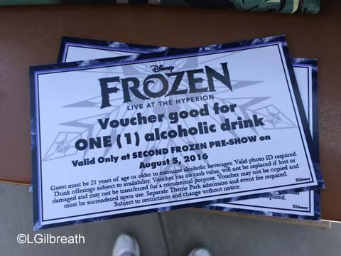 Frozen Pre-show drink vouchers