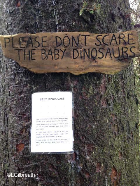Baby dinosaur sign