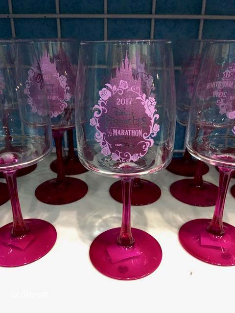 2017 Princess Half Marathon wine glasses