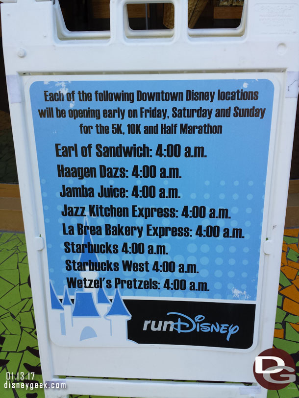 Downtown Disney Early Openings