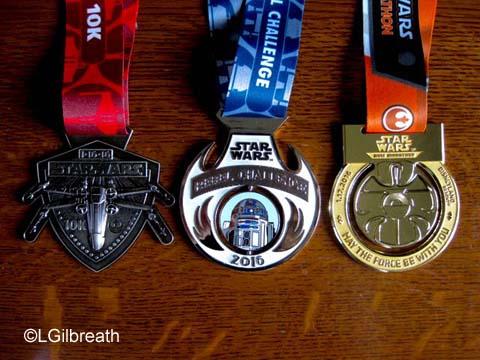 2016 Star Wars Half Marathon medals
