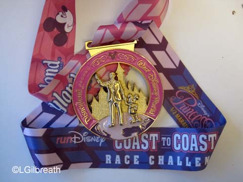 2015 pink Disney Coast to Coast medal