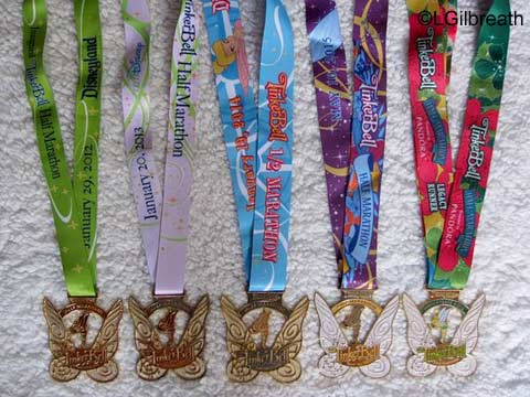 2012-2016 Tinker Bell Half Marathon medals