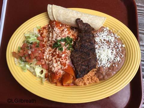 Rancho del Zocalo Carne Asada and Red Chile Enchilada