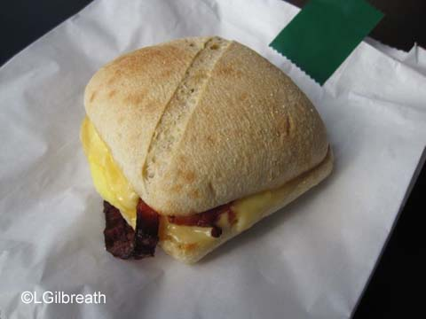Starbucks egg and bacon sandwich