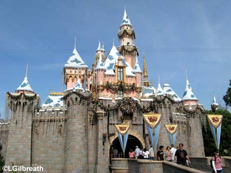 disneyland california castle. The castle has its icicles and