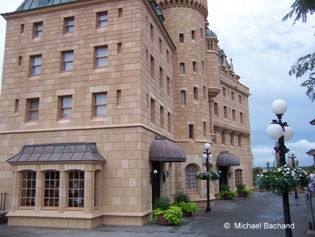Looking at the back of the hotel