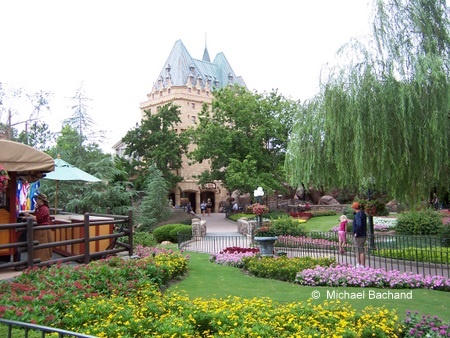 View of gardens from main sidewalk