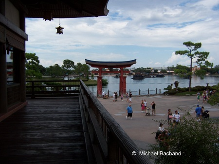 Looking towards the Torii Gate and World Showcase Lagoon