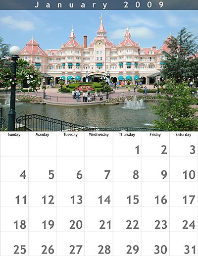 January 2009 8.5x11 Calendar