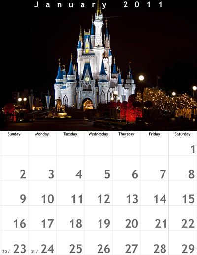 January 2011 8.5x11 Calendar