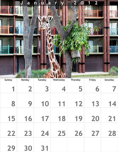 January 2012 8.5x11 Calendar
