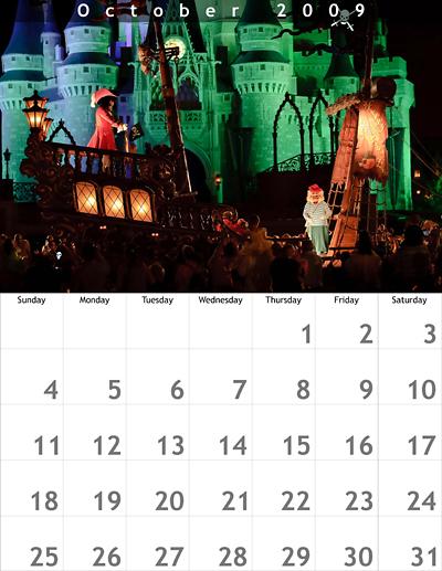 October 2009 8.5x11 Calendar