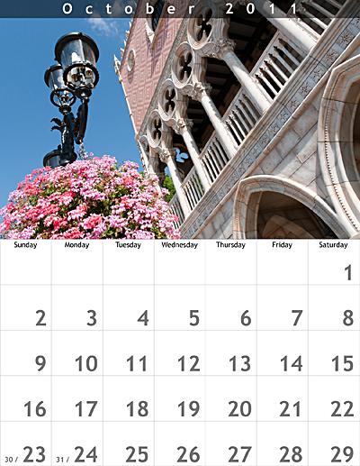 October 2011 8.5x11 Calendar