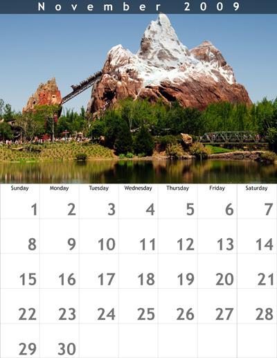 November 2009 8.5x11 Calendar