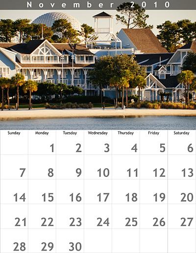 November 2010 8.5x11 Calendar