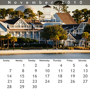 November 2010 Jewel Case Calendar