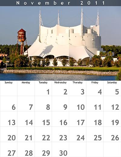 November 2011 8.5x11 Calendar