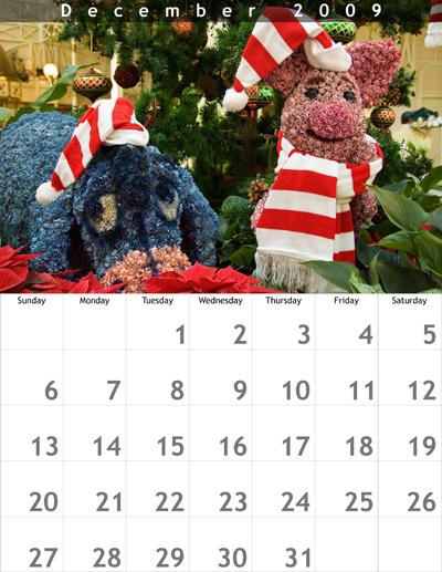 December 2009 8.5x11 Calendar