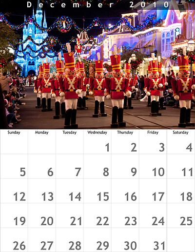 December 2010 8.5x11 Calendar