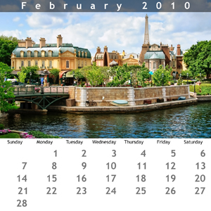 February 2010 Jewel Case Calendar